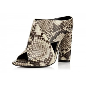 Women's Vintage Chunky Heel Boots Python Peep Toe Ankle Booties