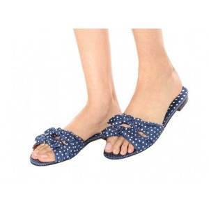 Women's Navy Polka Dot Open Toe Comfortable Shoes Mule Sandals with Bow