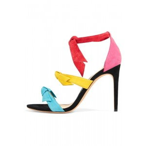 Multicolor Bow Heels Tie up Suede Open Toe Stiletto Heel Sandals