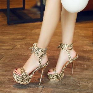 Women's Brown Stiletto Platform Heels Leopard Ankle Strap Sandals