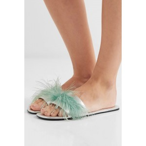 Women's Cyan Fluffy Open Toe Comfortable Flats Mule Slip Sandals