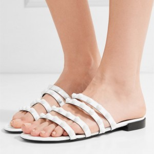 White Women's Slide Sandals Open Toe Summer Flat Slides Shoes