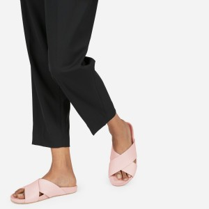 Women's Pink Summer Sandals Open Toe Chunky Heel Comfortable Mules