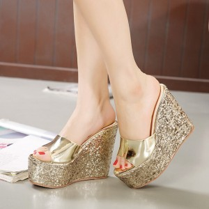 Women's Golden Glitter Shoes Mule Sandals Platform Shoes