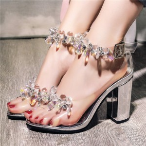 Women's White Rhinestone Chunky Heel Open Toe Ankle Strap Sandals