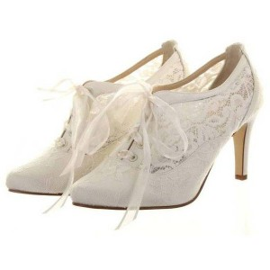 Women's White Lace Slik Ribbon Pointy Toe Chunky Heel Strappy Wedding Shoes