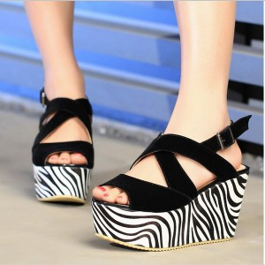 Women's Black and White Slingback Peep Toe Wedge Sandals