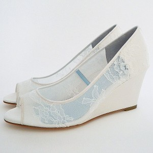 White Wedding Shoes Peep Toe Lace Heels Wedge Pumps
