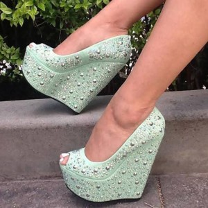 Cyan Wedding Heels Rhinestone Peep Toe Wedge Heels Pumps