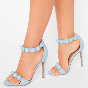Women's Blue Ankle Strap Sandals Open Toe Stiletto Heels
