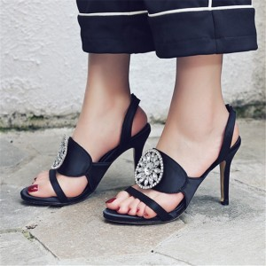 Women's Lelia Black Rhinestone Stiletto Heels Slingback Sandals