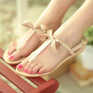 Women's Beige Flip-Flops Comfortable Flats with Cute Bow