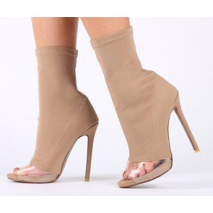 Nude Stiletto Boots Peep Toe Clear Heeled Sock Boots