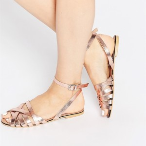 Rose Gold Sandals Open Toe Ankle Strap Flat Sandals