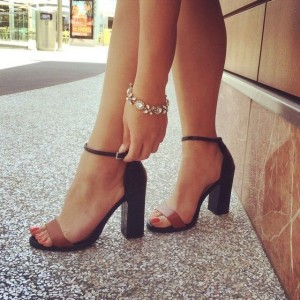 Black and Tan Two Tone Ankle Strap Heels Open Toe Block Heel Sandals