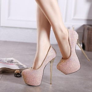 Women's Pink Almond Toe Stiletto Heels Platform Pumps Wedding Shoes