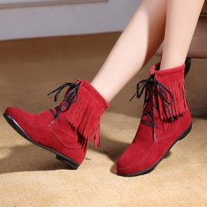 Red Fringe Boots Lace up Round Toe Suede Fashion Ankle Boots