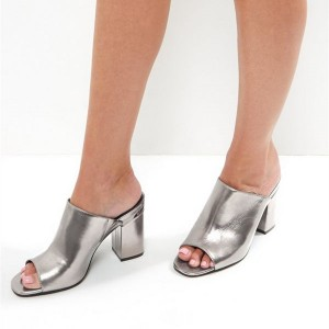 Women's Silver Patent Leather Mule chunky Heel Sandals