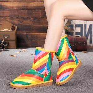 Women's Rainbow Round Toe Snow Ankle Vintage Boots