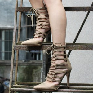 Women's Pointy Toe Khaki Strappy Heels Lace Up Summer Ankle Boots