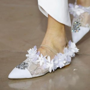 Women's Wedding Flats Lace Jeweled Flower Bridesmaid shoes