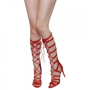 Women's Red Lace Up Stiletto Heel Strappy Sandals