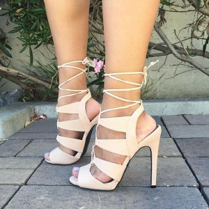 Women's Ivory Lace up Stiletto Heels Strappy Sandals