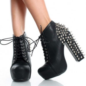Women's Black Platform Lace Up Heels Rivets Chunky Heels Boots