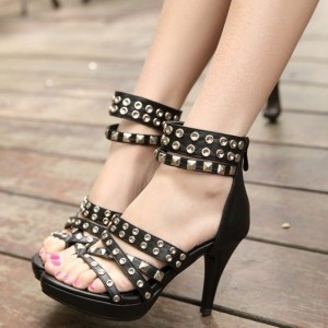 Black Studs Shoes Chunky Heel Open Toe Platform Sandals