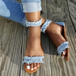 Denim Ankle Strap Sandals Blue Jean Flats Sandals for Women