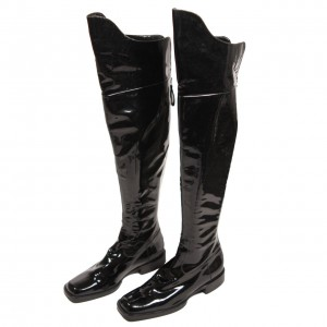 Cat Woman Black Chunky Heel Boots Patent Leather Knee Boots for Halloween