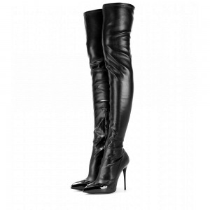 Black Thigh High Heel Boots Sexy Cat Woman Stiletto Heel Long Boots