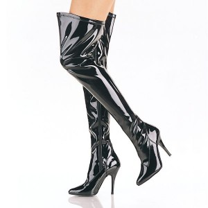 Cat Woman Thigh High Heel Boots Black Patent Leather Stiletto Boots