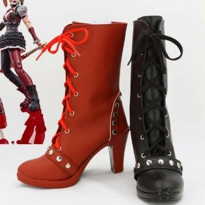 Harley Quinn's Red&Black Round Toe Lace Up Chunky Heels Ankle Boots