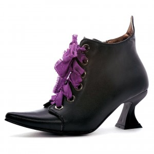 Women's Black Witch Costumes Halloween Purple Lace Up Chunky Heel Boots