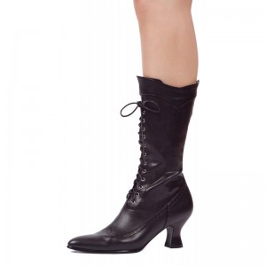 Black Wingtip Boots Pointy Toe Lace up Mid Calf Halloween Witch Boots
