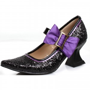 Women's Black Glitter Buckle Bow Witch Costumes Halloween Spool Heels Pumps