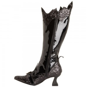 Women's Black Glitter Witch Costumes Halloween Zip Mid-calf Spool Heel Boots