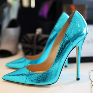 Ariel Aqua Shoes Mirror Leather Pointy Toe Stiletto Heel Pumps
