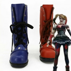 Women's Blue and Red Harley Quinn 2017 Halloween Vintage Shoes Ankle Booties