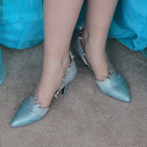 Women's 2017 Halloween Frozen Elsa Cyan Snowflake Stiletto Heels Dress Shoes Pointy Toe Pumps