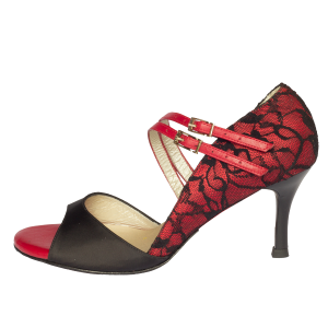 Black and Red Lace Heels Peep Toe Vampire Pumps for Halloween