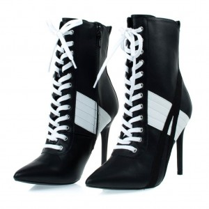 Harley Quinn Black&White Contrast Color Lace Up Heels Ankle Boots for Halloween
