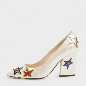 Ariel Champagne Star Floral Pointy Toe Chunky Heels Pumps for Halloween