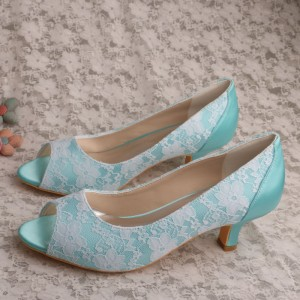 Turquoise Wedding Shoes Lace Heels Peep Toe Kitten Heel Pumps