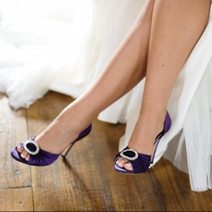 Purple Bridal Shoes Satin Peep Toe Stiletto Heel Pumps for Wedding
