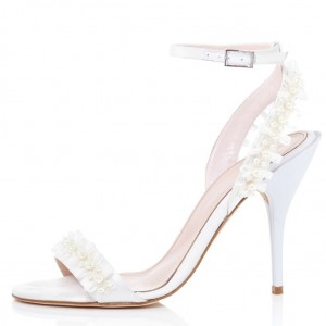 White Stiletto Heels Dress Shoes Ankle Strap Open toe Sandals