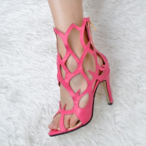 Women's Pink Open Toe Stiletto Heel Hollow out Sandals