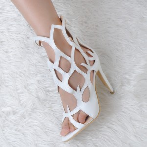 Women's White Open Toe Stiletto Heel Hollow out Sandals