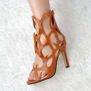 Women's Brown Open Toe Hollow out  Stiletto Heel Sandals